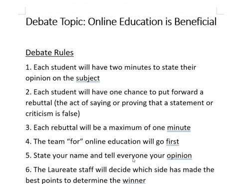 online debate instructions